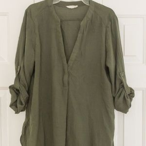 BP High-Low Olive Blouse